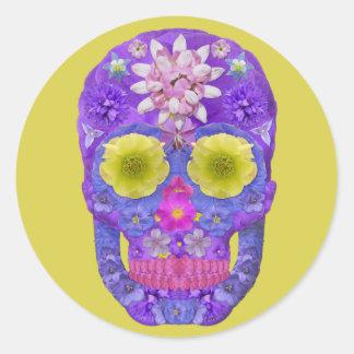 Flower Skull 5 Classic Round Sticker