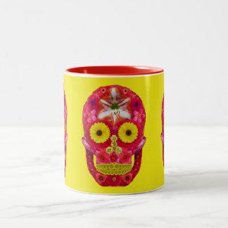 Flower Skull 6 Two-Tone Coffee Mug