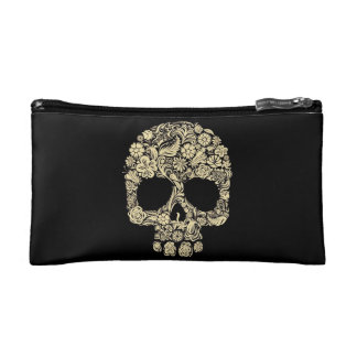 Flower Skull Cosmetic Bag