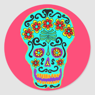 Flower skull sticker in aqua