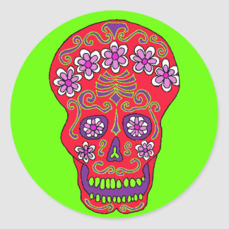 Flower skull sticker in red