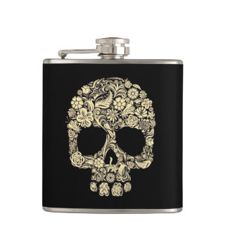 Flower Skull Vinyl Wrapped Flask