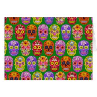 Flower Skulls Seamless Pattern 2018 Card
