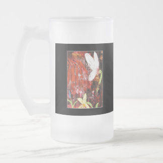 Flower, Snowdrop. Frosted Glass Beer Mug