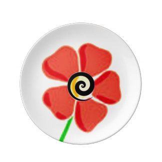 Flower Spiral Red Plate