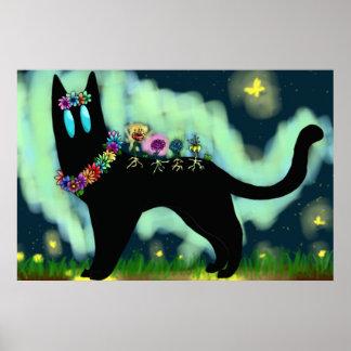 Flower Spirit Feline Poster