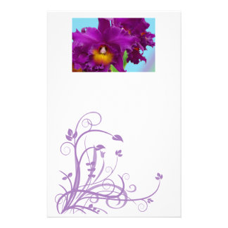 Flower stationery with purple orchids