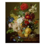 Flower Still Life on a marble ledge, 1800-01 Poster