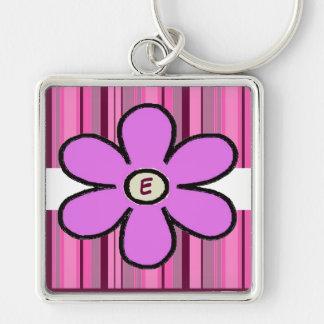 Flower Stripe Initial Keychain
