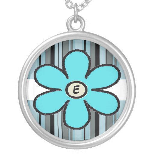 Flower Stripe Initial Necklace
