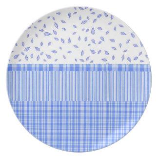 flower stripes, & checkered motif, Melamine Plate