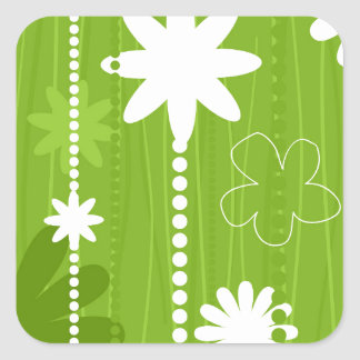 Flower structure square sticker