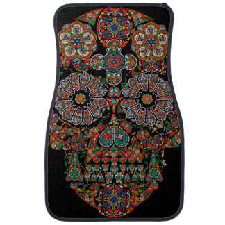 Flower Sugar Skull Car Floor Mat