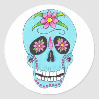 Flower Sugar Skull Classic Round Sticker