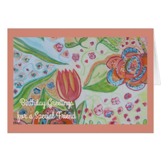 Flower Swirl Special Friend Birthday Card