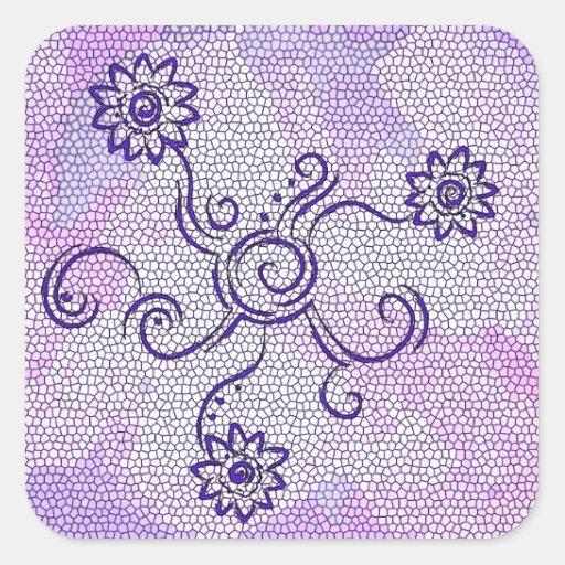 Flower swirls purple stickers