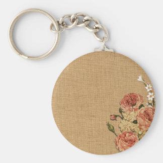 Flower Texture Basic Round Button Keychain