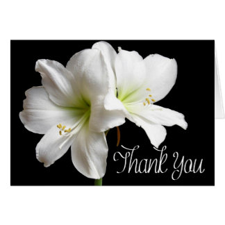 Flower Thank You White Lily Floral Black Card