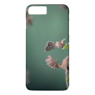 Flower Themed, Fuzzy Brown And White Moth Lands On iPhone 7 Plus Case