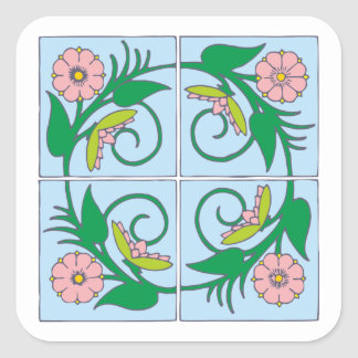Flower tiles of more flower tiles square sticker