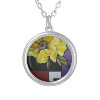 FLOWER To CUADROS_result Silver Plated Necklace