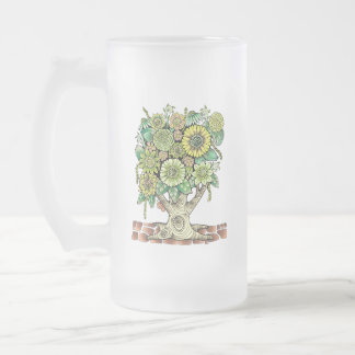 Flower Tree Frosted Glass Beer Mug