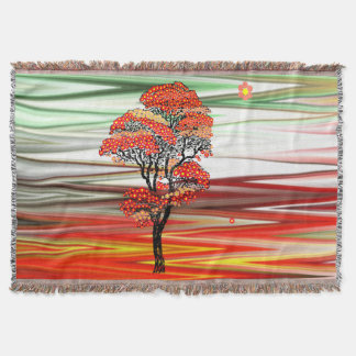 Flower Tree on Abstract Red, White, Green Stripes Throw Blanket