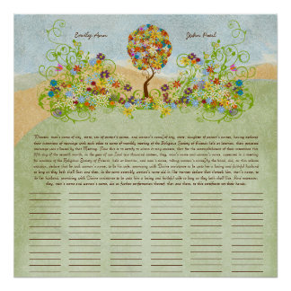 Flower Tree Print  Quaker Wedding Certificate