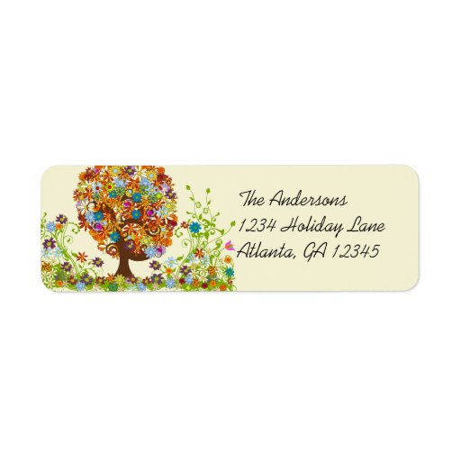 Flower Tree Swirl  Return Address Return Address Labels