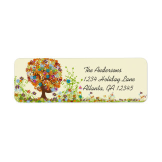 Flower Tree Swirl  Return Address Return Address Label