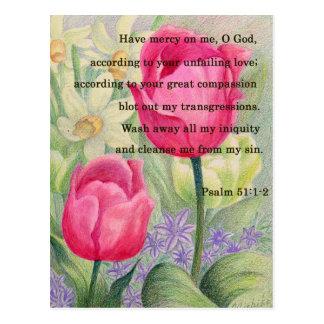 Flower tulip and scripture postcard