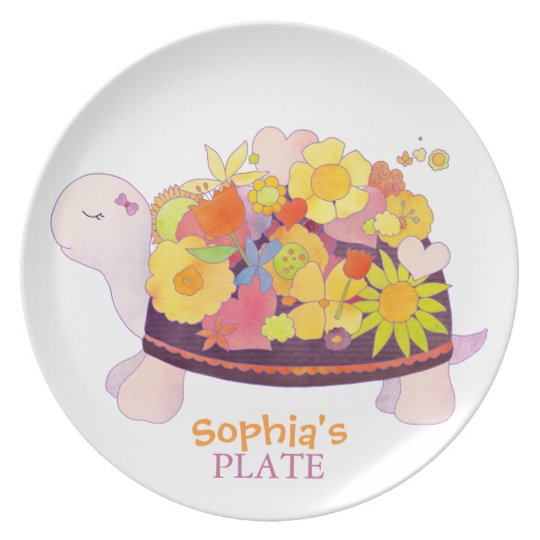 Flower Turtle Personalized Baby Dish
