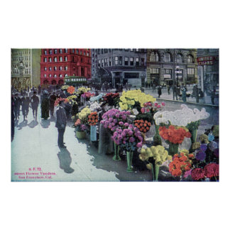 Flower Vendors, San Francisco 1926 Vintage Poster