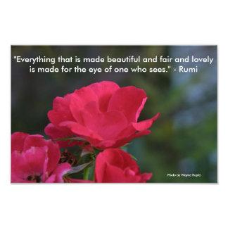 Flower w/Rumi quotation Photo Print