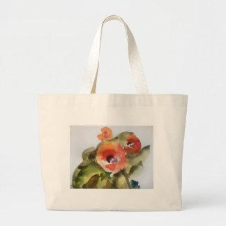 flower watercolor large tote bag