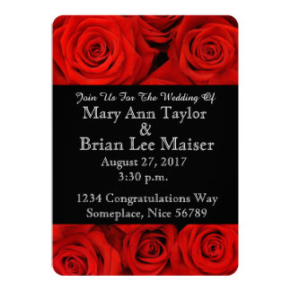Flower Wedding Invitations Red Rose Flower Cards