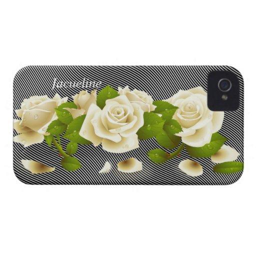 Flower White Roses Blackberry Bold Case