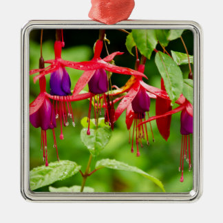 Flower with dew drops Silver-Colored square ornament