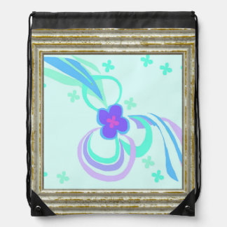 Flower With Ribbons Drawstring Bag