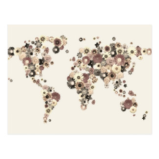 Flower World Map Sepia Postcard