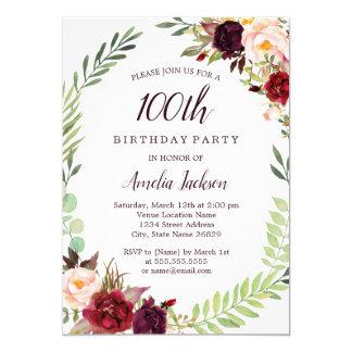 Flower Wreath Burgundy 100th Birthday Card