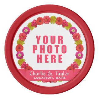 Flower Wreath custom photo & text poker chips