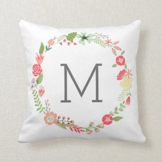 Flower Wreath Monogram Throw Pillow