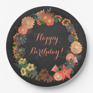 Flower Wreath on Chalkboard Birthday Paper Plates 9 Inch Paper Plate