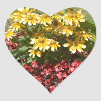 Flowerbed of coneflowers and begonias heart sticker