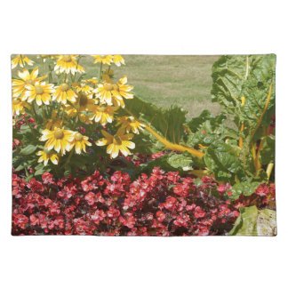Flowerbed of coneflowers and begonias placemat