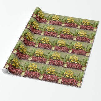 Flowerbed of coneflowers and begonias wrapping paper