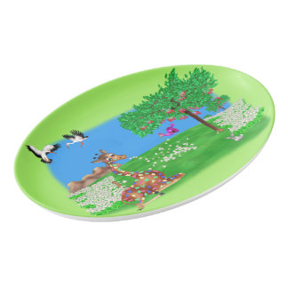 Flowerchain Rainbow & Lila by The Happy Juul Compa Porcelain Serving Platter