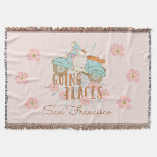 Flowerchild Scooter Going Places Throw Blanket