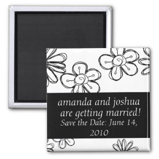 Flowerdoodles-save the date square magnet